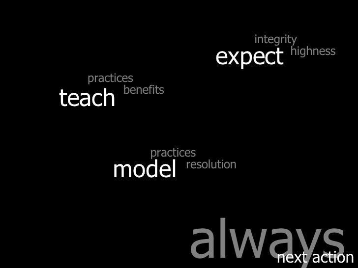 always next action teach expect model integrity highness practices benefits practices resolution