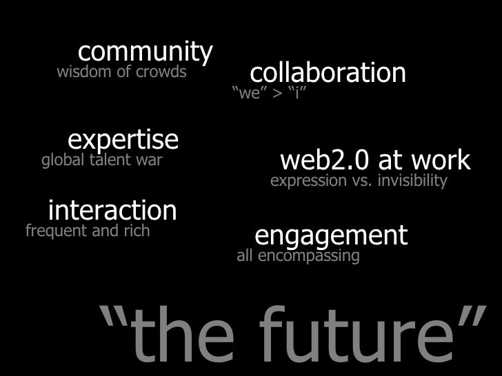 """"""" the future"""" collaboration interaction web2.0 at work community expertise engagement """" we"""" > """"i"""" frequent and rich expres..."""
