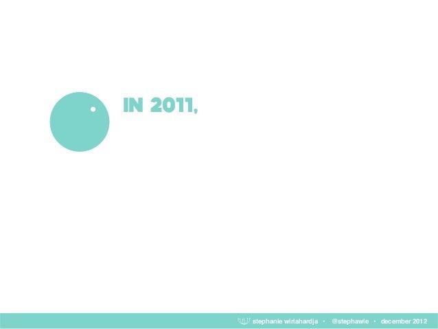 IN 2011,           stephanie wiriahardja • @stephawie • december 2012