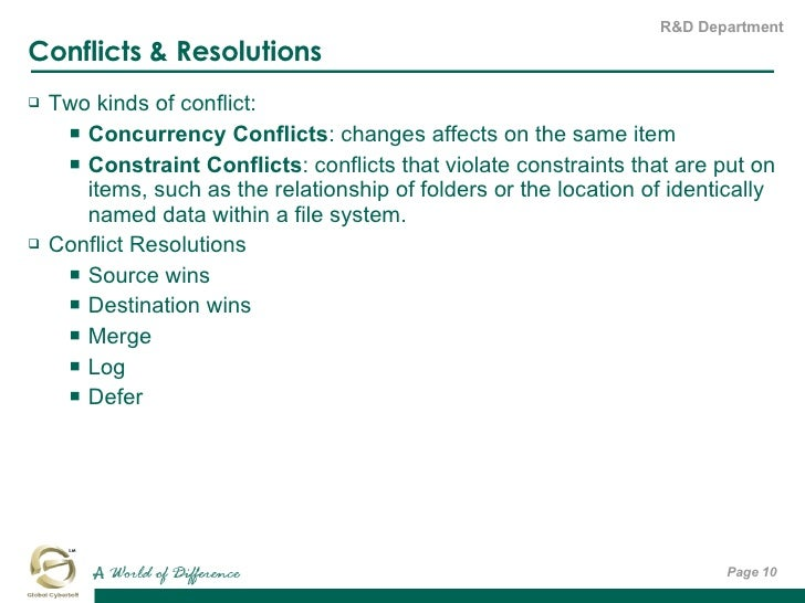 Conflicts & Resolutions <ul><li>Two kinds of conflict:  </li></ul><ul><ul><li>Concurrency Conflicts : changes affects on t...