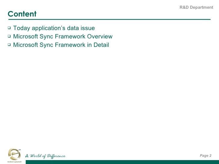 Content <ul><li>Today application's data issue </li></ul><ul><li>Microsoft Sync Framework Overview </li></ul><ul><li>Micro...