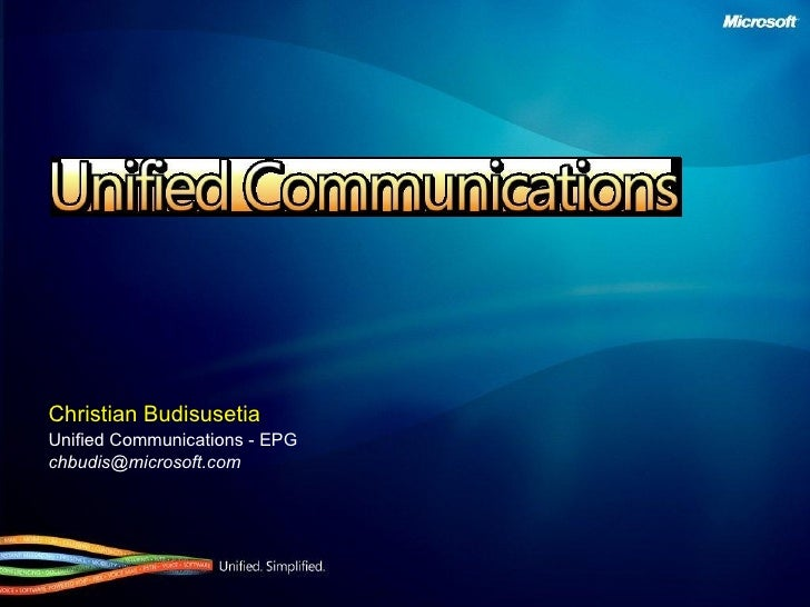 Christian Budisusetia Unified Communications - EPG [email_address]