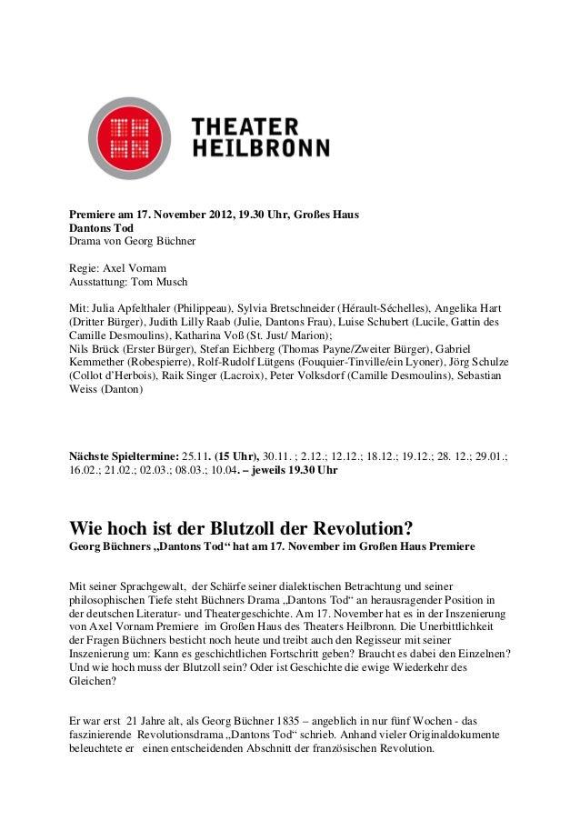 Premiere am 17. November 2012, 19.30 Uhr, Großes HausDantons TodDrama von Georg BüchnerRegie: Axel VornamAusstattung: Tom ...