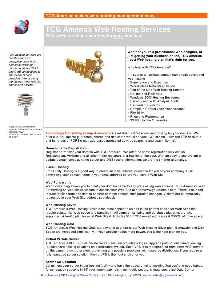 TCG America makes web hosting management easy…                                     TCG America Web Hosting Services       ...