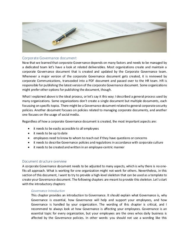 Corporate Governance document Now that we learned that corporate Governance depends on many factors and needs to be manage...