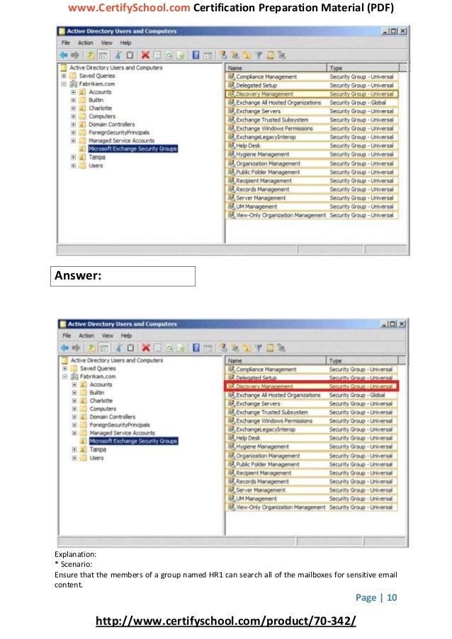 www.CertifySchool.com Certification Preparation Material (PDF) Page | 10 http://www.certifyschool.com/product/70-342/ Answ...