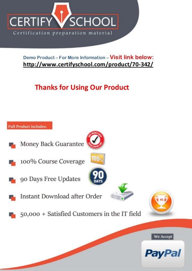 www.CertifySchool.com Certification Preparation Material (PDF) Page | 14 http://www.certifyschool.com/product/70-342/ Demo...
