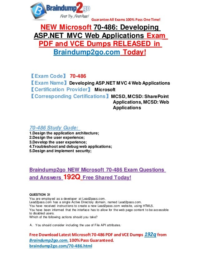 Microsoft 70 486 Dumps Pdf Offer