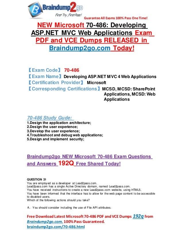 Microsoft 70 486 Dumps Pdf Offer