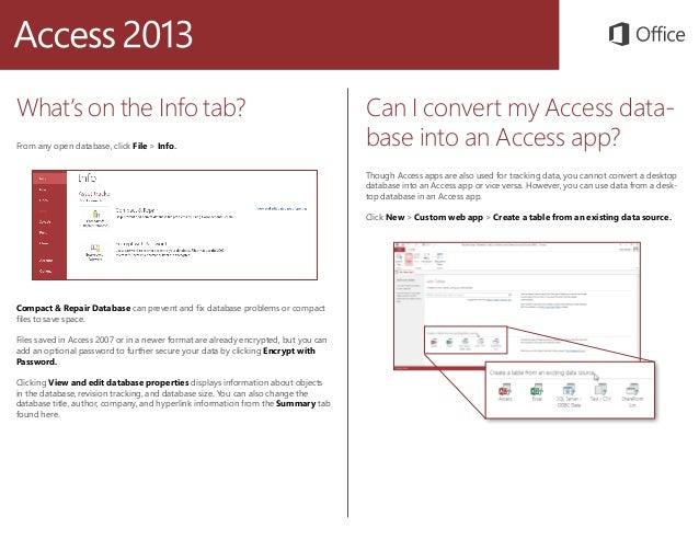 Quickstart Microsoft access 2013