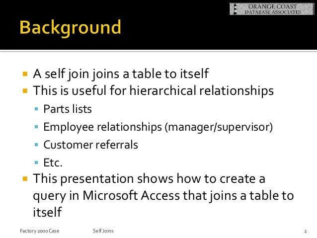 Microsoft access self joins Slide 2