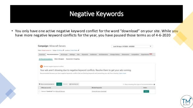 """Negative Keywords • You only have one active negative keyword conflict for the word """"download"""" on your site. While you hav..."""