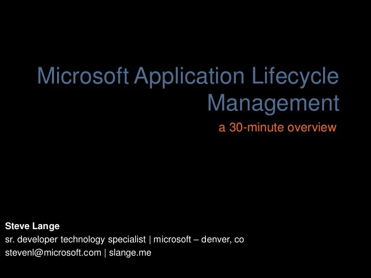 Microsoft Application Lifecycle                        Management                                                     a 30...