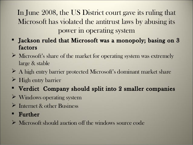 microsoft antitrust case United states v microsoft was a set of consolidated civil actions filed against microsoft corporation pursuant to the sherman antitrust act on may 18.