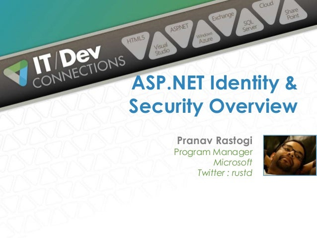 Pranav Rastogi Program Manager Microsoft Twitter : rustd ASP.NET Identity & Security Overview