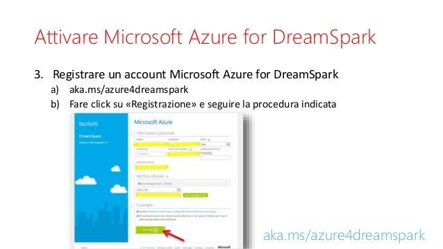 Attivare Microsoft Azure for DreamSpark 3. Registrare un account Microsoft Azure for DreamSpark a) aka.ms/azure4dreamspark...