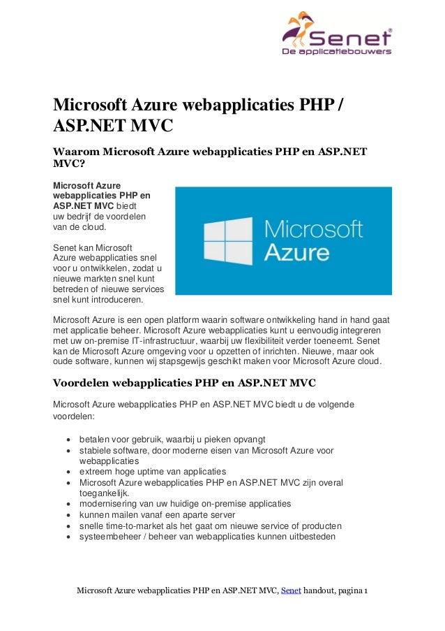 Microsoft Azure webapplicaties PHP en ASP.NET MVC, Senet handout, pagina 1 Microsoft Azure webapplicaties PHP / ASP.NET MV...