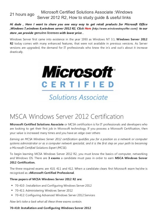 Microsoft Certified Solutions Associate Windows Server 2012 R2 How