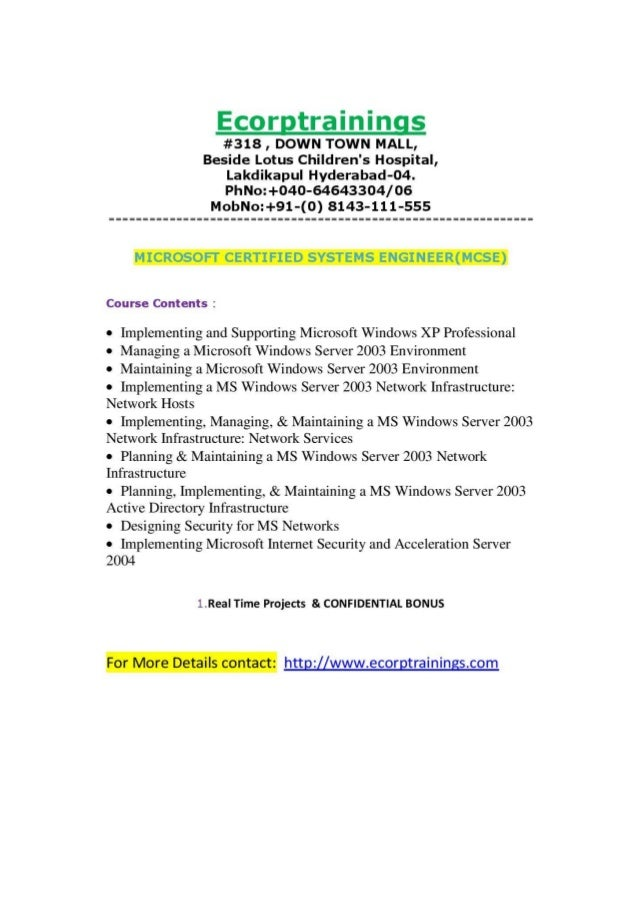 Microsoft Certified Systems Engineermcse Training In Hyderabad Indi