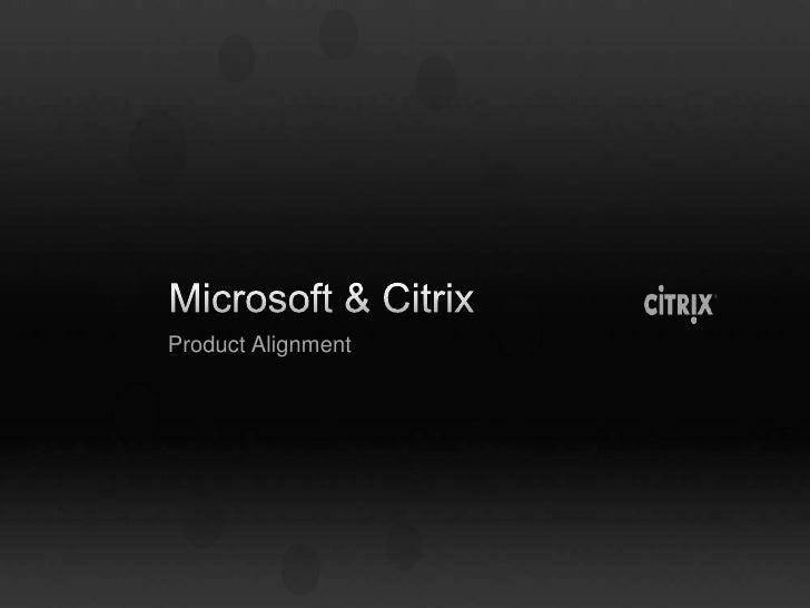 Microsoft & Citrix<br />Product Alignment<br />