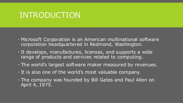 An introduction to the history of the microsoft corporation