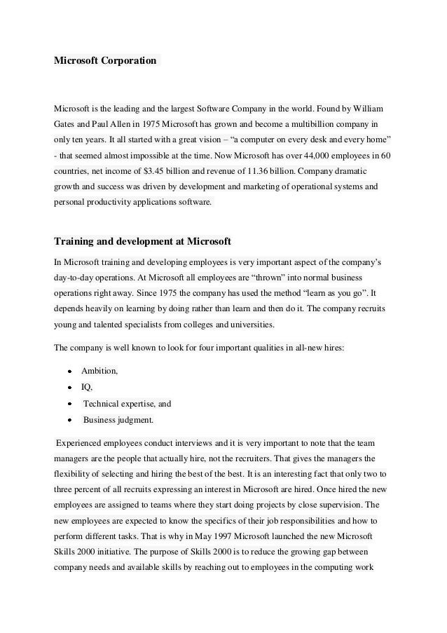 Microsoft Corporation Case Analysis