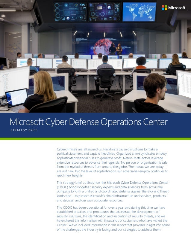 Microsoft Cyber Defense Operation Center Strategy