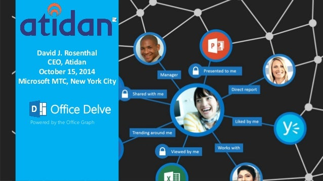 David J. Rosenthal  CEO, Atidan  October 15, 2014  Microsoft MTC, New York City  Office Delve  Powered by the Office Graph