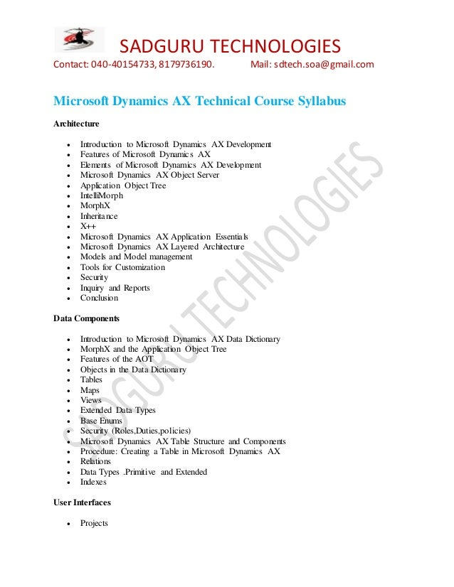 Microsoft Dynamics Ax Certification Training In Hyderabad