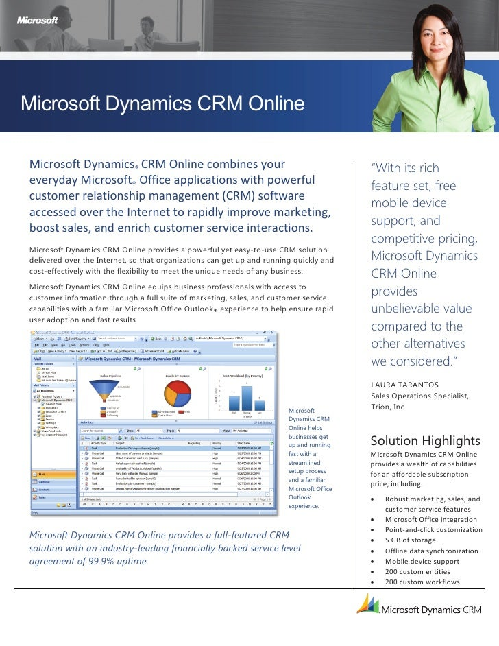Microsoft Dynamics CRM Online  Microsoft Dynamics® CRM Online combines your                                               ...