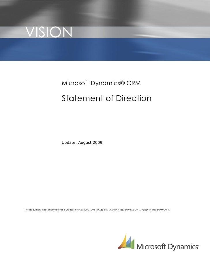 VISION                       r                                  Microsoft Dynamics® CRM                               Stat...