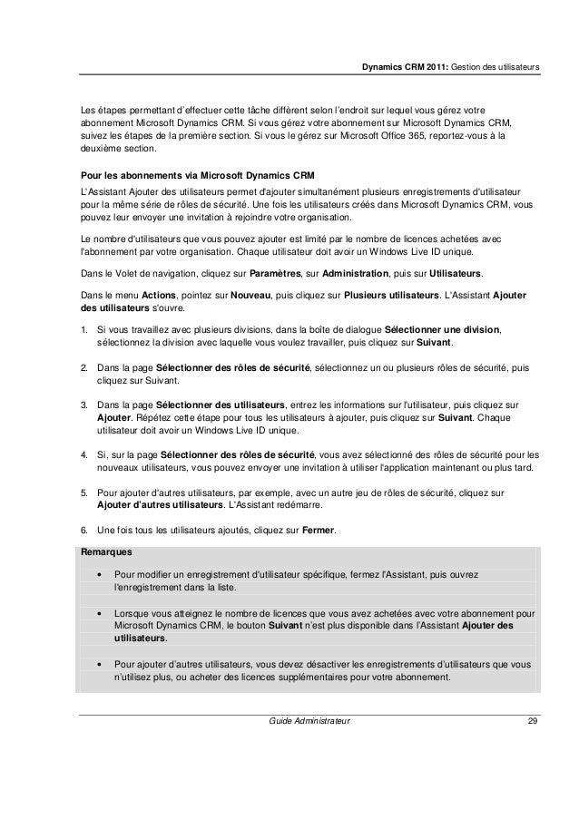 Dynamics CRM 2011: Gestion des utilisateurs Guide Administrateur 31 3. Dans la page Sélectionner une division, dans la lis...
