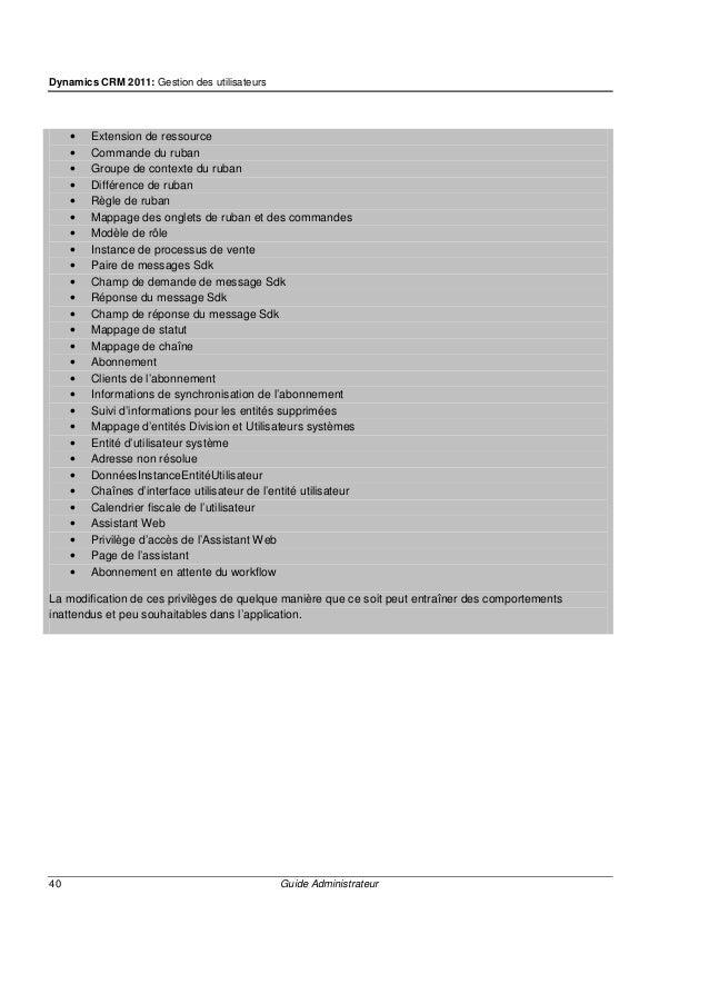 Dynamics CRM 2011: Communication avec d'autres utilisateurs Microsoft Dynamics CRM 42 Guide Administrateur Communication a...