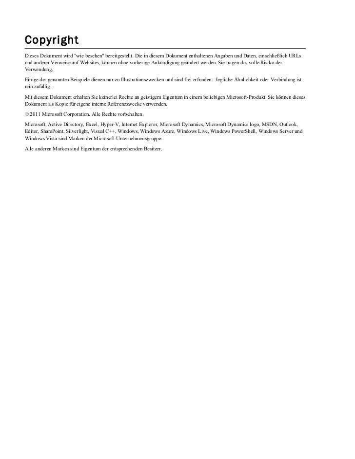"""CopyrightDieses Dokument wird """"wie besehen"""" bereitgestellt. Die in diesem Dokument enthaltenen Angaben und Daten, einschli..."""