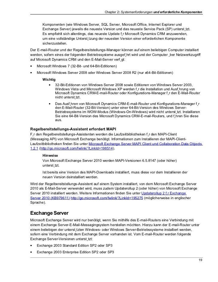 Chapter 2: Systemanforderungen und erforderliche Komponenten       Komponenten (wie Windows Server, SQL Server, Microsoft ...