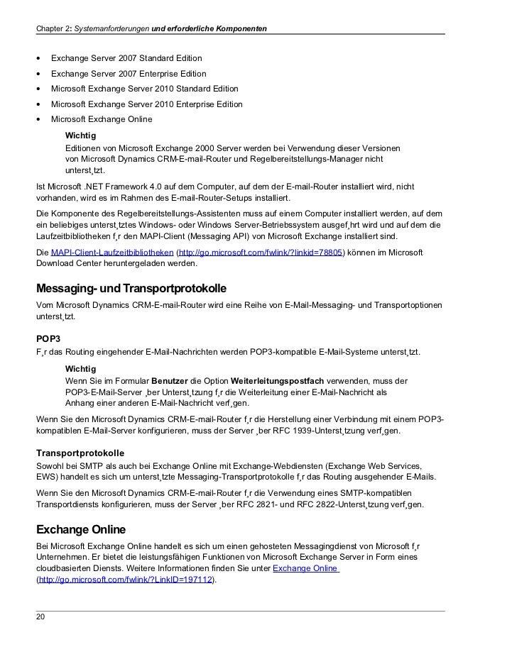Chapter 2: Systemanforderungen und erforderliche Komponenten•    Exchange Server 2007 Standard Edition•    Exchange Server...