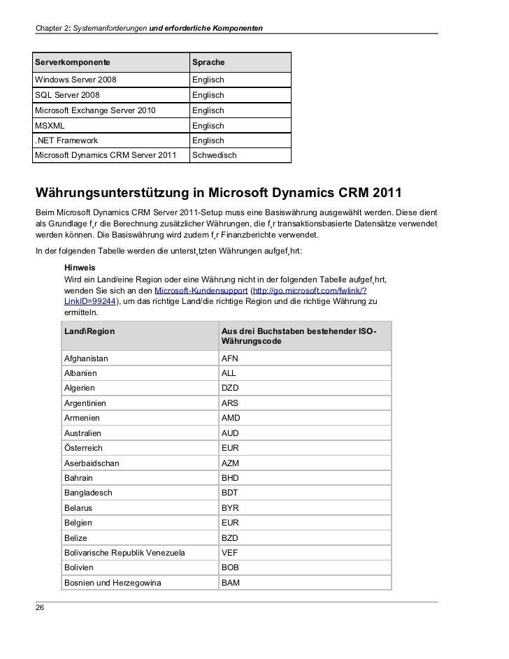 Chapter 2: Systemanforderungen und erforderliche KomponentenServerkomponente                         SpracheWindows Server...