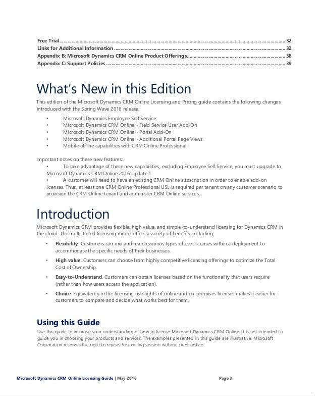 Microsoft Dynamics CRM 2016 On Premise - Cloud Volume License Guide -…