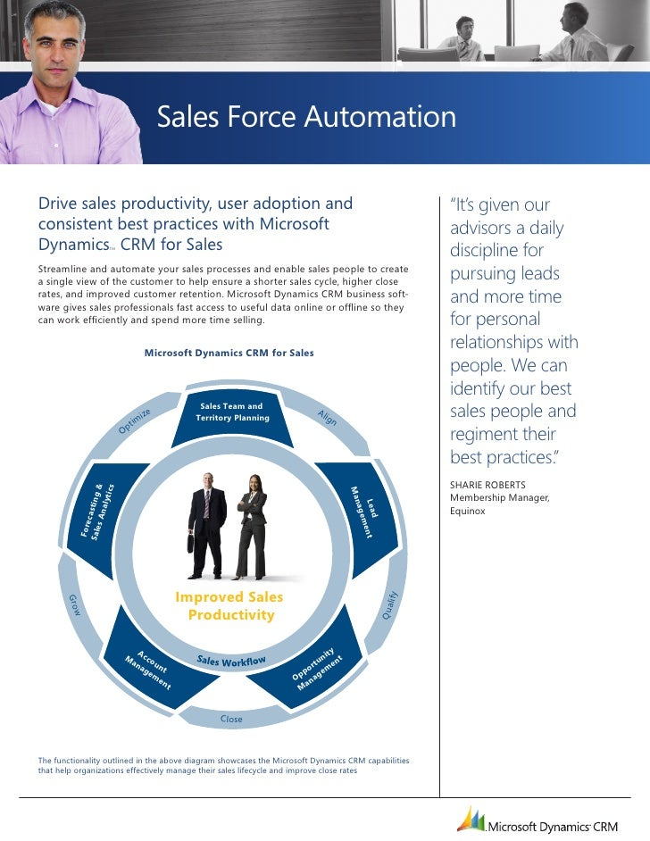 Sales Force Automation        Drive sales productivity, user adoption and                                                 ...
