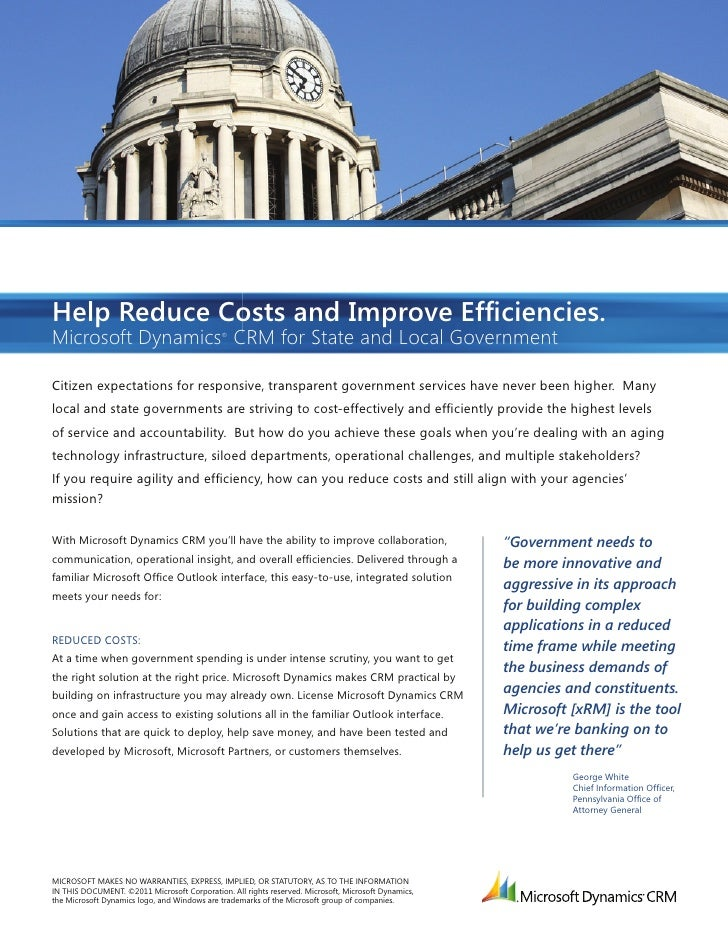 Help Reduce Costs and Improve Efficiencies.Microsoft Dynamics CRM for State and Local Government                           ...
