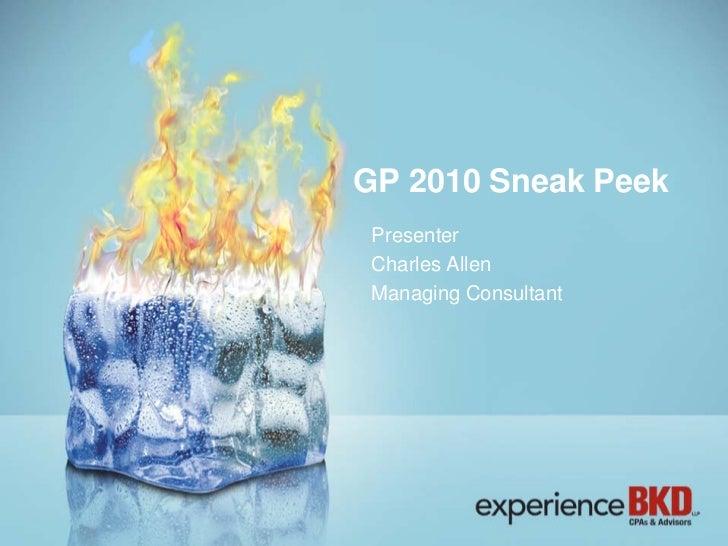 Microsoft Dynamics GP 2010 Sneak Peak