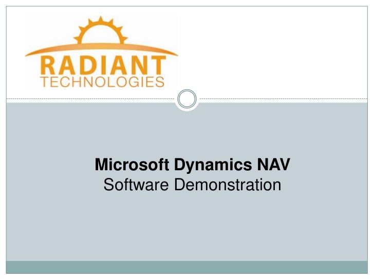 Microsoft Dynamics NAV Software Demonstration
