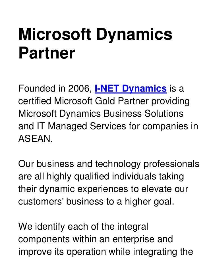 Microsoft Dynamics Partner <br />Founded in 2006, I-NET Dynamics is a certified Microsoft Gold Partner providing Microsoft...