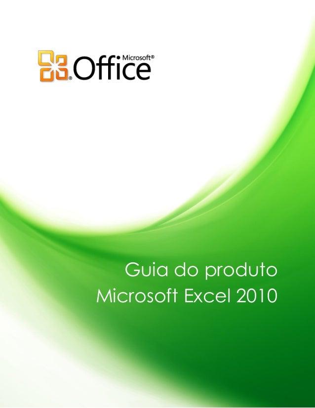 Guia do produto Microsoft Excel 2010