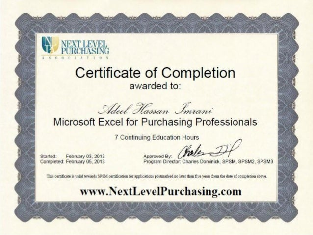 microsoft excel for purchasing professionals