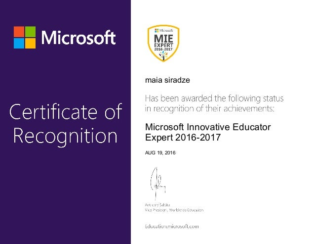maia siradze Microsoft Innovative Educator Expert 2016-2017 AUG 19, 2016