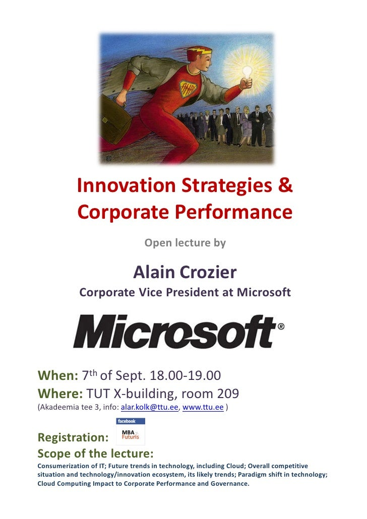Innovation Strategies &            Corporate Performance                                   Open lecture by                ...