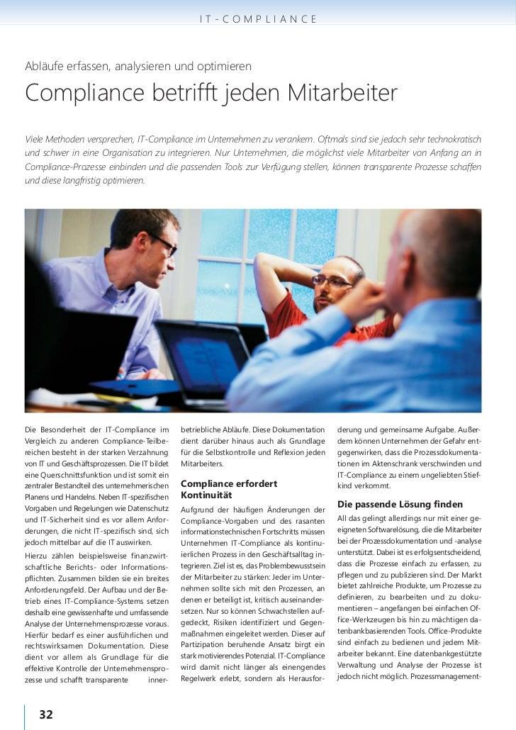 IT-COMPLIANCEAbläufe erfassen, analysieren und optimierenCompliance betrifft jeden MitarbeiterViele Methoden versprechen, ...