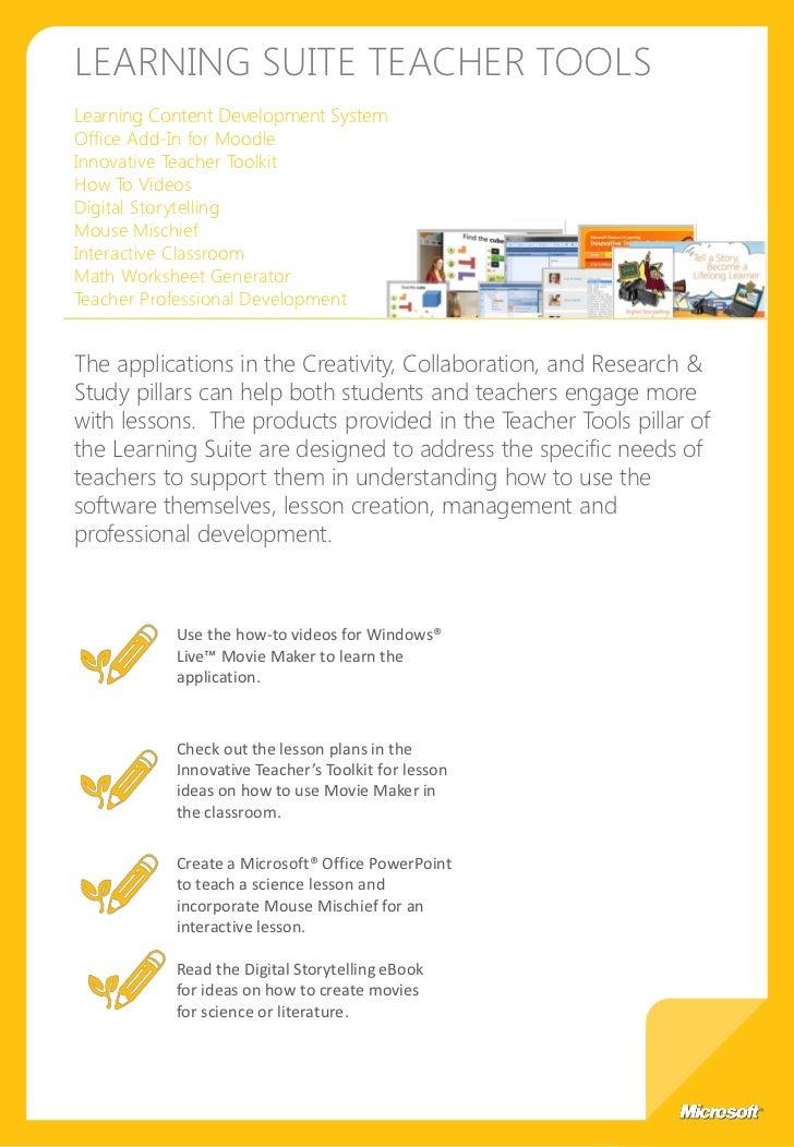 Microsoft Learning Suite Brochure – Microsoft Math Worksheet Generator
