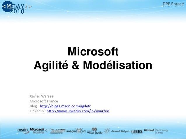 DPE France Microsoft Agilité & Modélisation Xavier Warzee Microsoft France Blog : http://blogs.msdn.com/agilefr LinkedIn :...